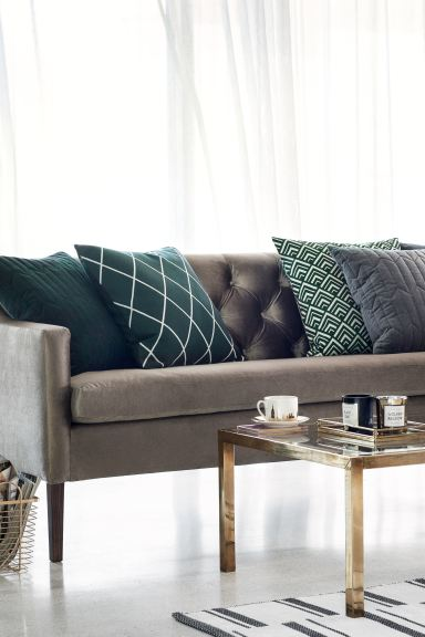 Jacquard-weave cushion cover - Dark green/Patterned - Home All | H&M GB