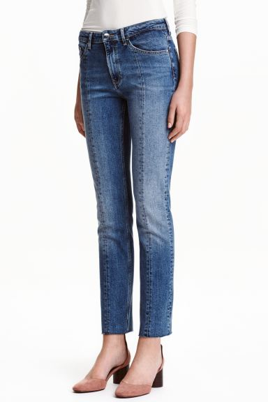 Straight Regular Ankle Jeans - Denim blue/Pintuck - Ladies | H&M GB