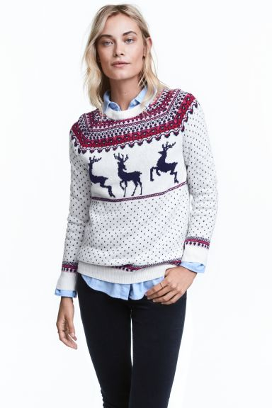 Jacquard-knit jumper - White/Reindeer - Ladies | H&M GB