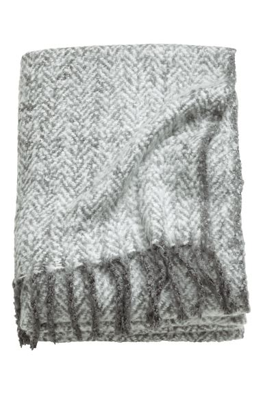 Herringbone-patterned blanket - Light grey - Home All | H&M GB