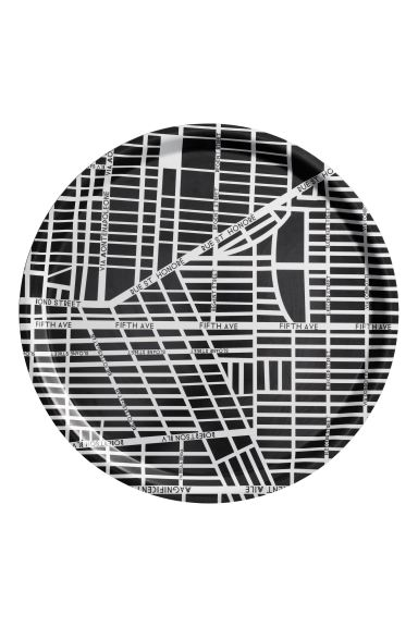 Round tray - Black/City Map - Home All | H&M GB