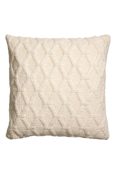 Cable-knit cushion cover - White - Home All | H&M GB