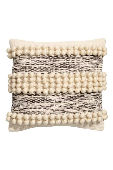 Cushion cover with pompoms - Natural white - Home All | H&M GB
