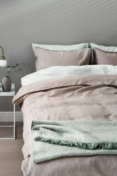 Washed Linen Duvet Cover Set - Gray-beige - Home All | H&M US