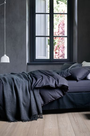 Washed cotton duvet cover set - Dark blue - Home All | H&M GB