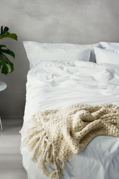 Washed cotton duvet cover set - White - Home All | H&M GB