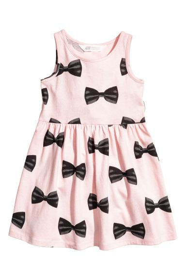 Patterned jersey dress - Light pink/Bows - Kids | H&M GB