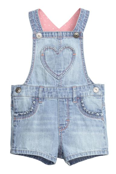 Cotton dungaree shorts - Light denim blue - Kids | H&M GB