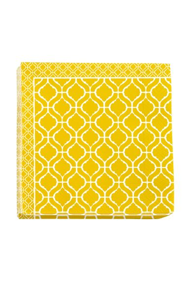 Paper napkins - Yellow/Patterned - Home All | H&M GB