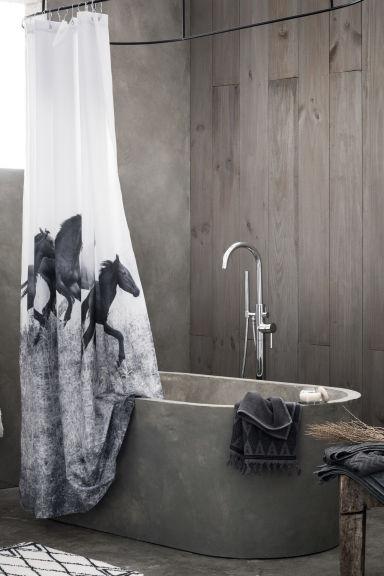duschvorhang mit fotodruck weiss home h m ch. Black Bedroom Furniture Sets. Home Design Ideas