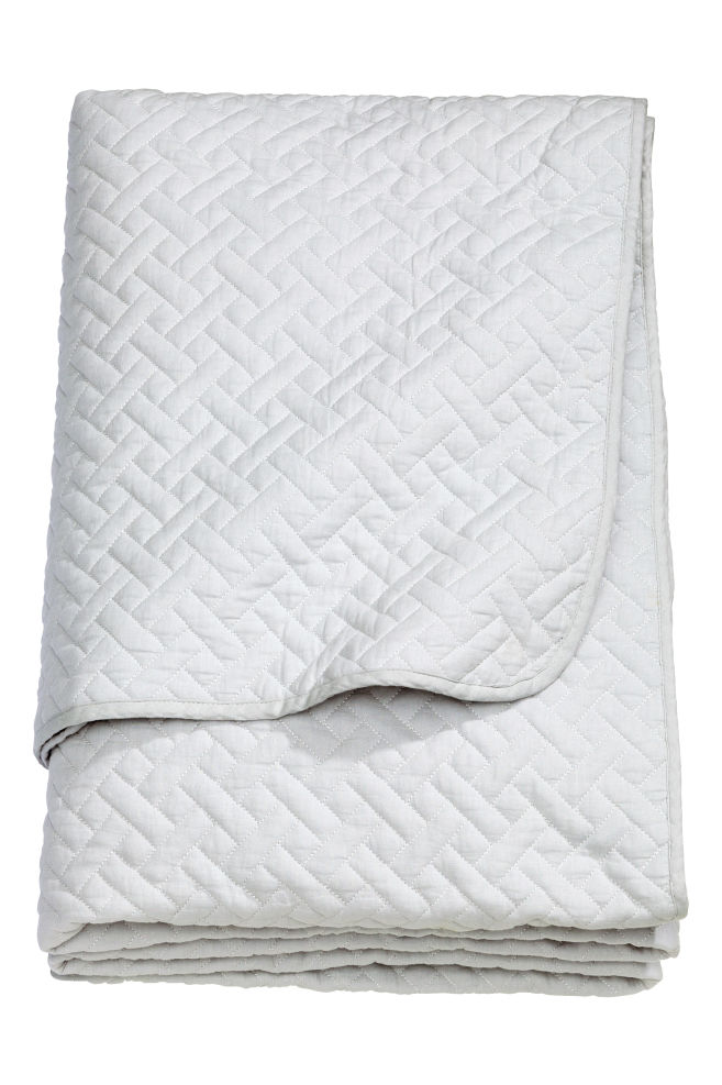 HM Grey Quilted Bedspread