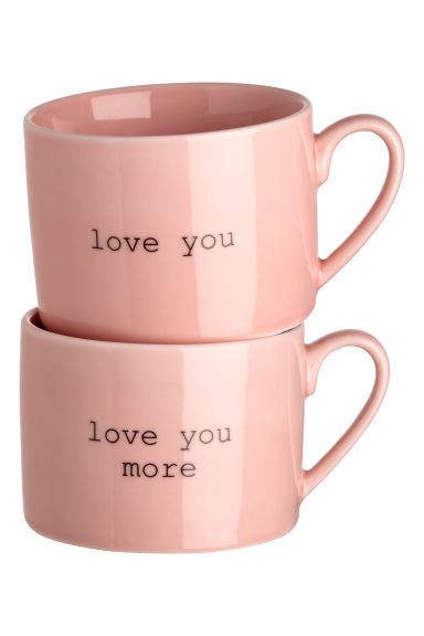 2-pack porcelain mugs - Light pink - Home All | H&M GB 1