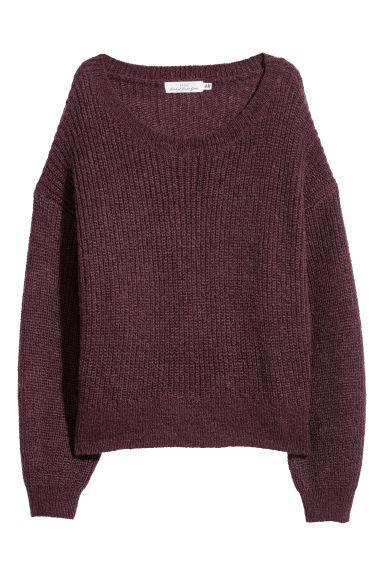Lazán kötött pulóver - Burgundivörös - NŐI | H&M HU 1