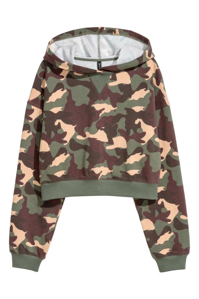 Kort huvtröja - Khakigrön/Mönstrad - DAM | H&M SE 2