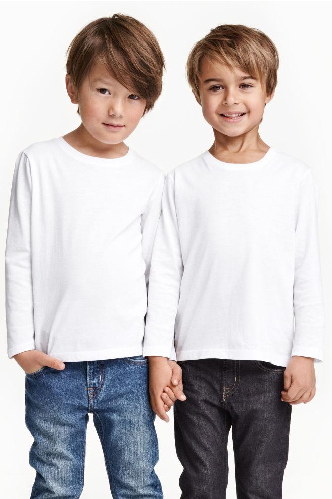 9419b15b93c989 T-shirt z długim rękawem 2-pak - Biały - Dziecko | H&M PL