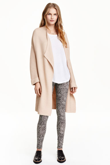 Tricot legging - Zwart/wit dessin - DAMES | H&M BE