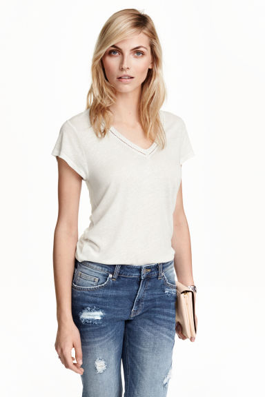 T-shirt in a linen blend - White - Ladies | H&M GB