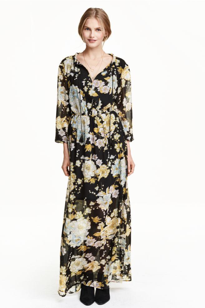 70084589559 Robe en mousseline fleurie - Noir - FEMME