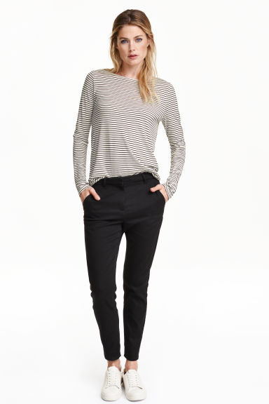 Slim Ankle Chinos - Black - Ladies | H&M GB