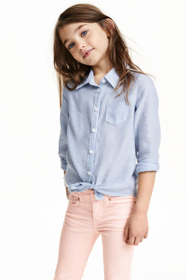 Long-sleeved blouse - Blue/Striped - Kids | H&M GB
