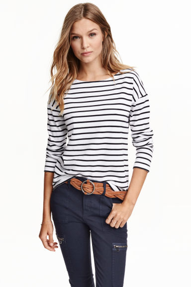 Top with zips - White/Striped - Ladies | H&M GB