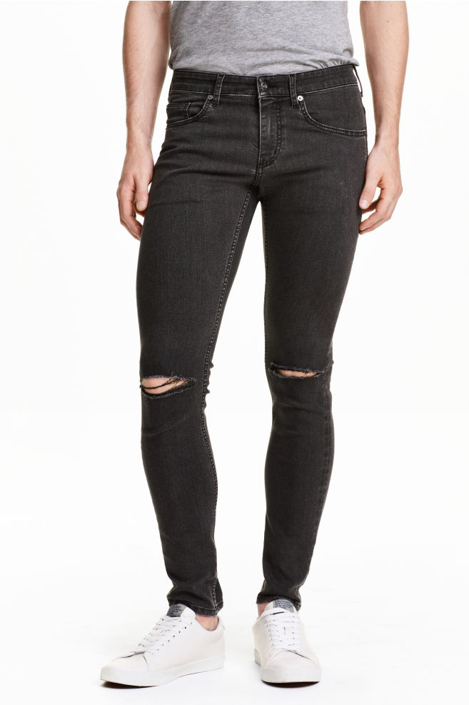fec2f4084a Super Skinny Low Ripped Jeans - Gris oscuro - HOMBRE