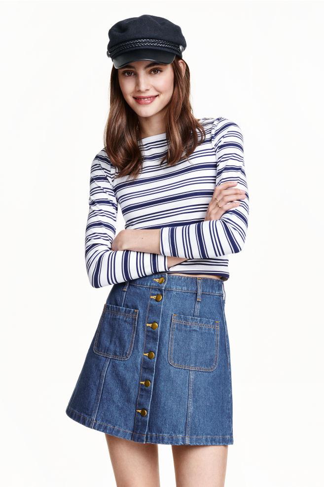 8235ba01b1 A-vonalú szoknya - Denimkék - NŐI | H&M ...