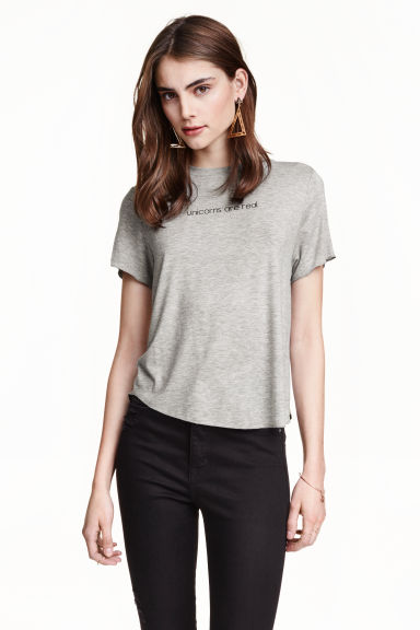 Jersey crop top - Grey/Unicorns - Ladies | H&M GB