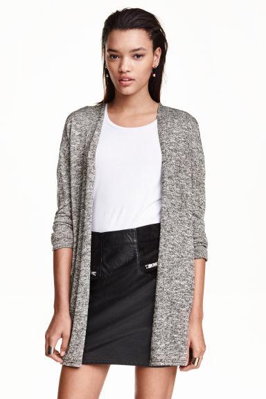 Fine-knit cardigan - Black marl -  | H&M GB