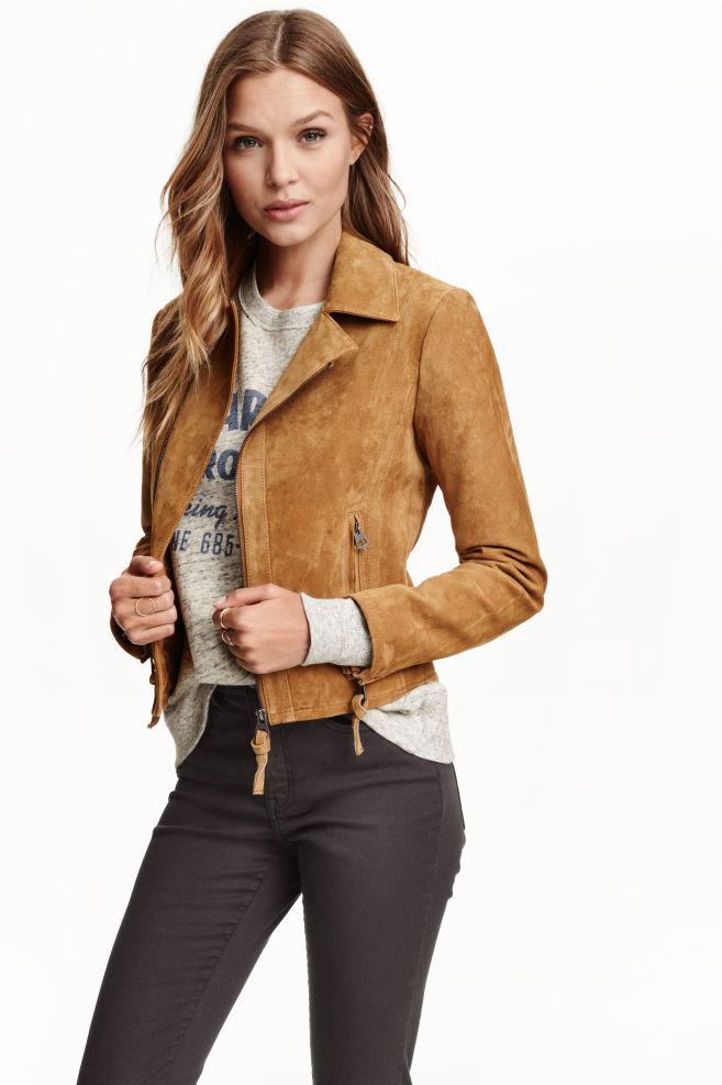 96f7c05e778ef Veste en daim - Beige foncé - FEMME   H&M ...