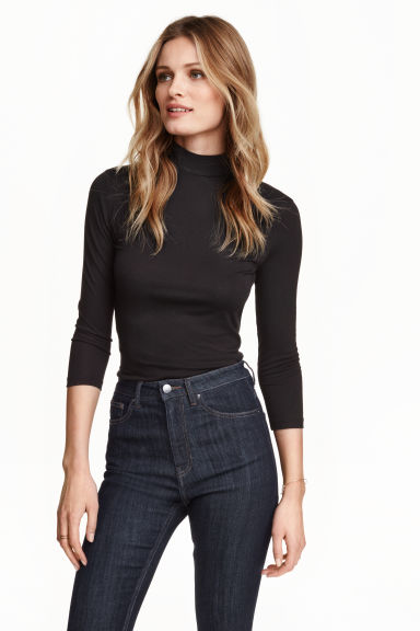 Turtleneck jersey top - Black - Ladies | H&M GB