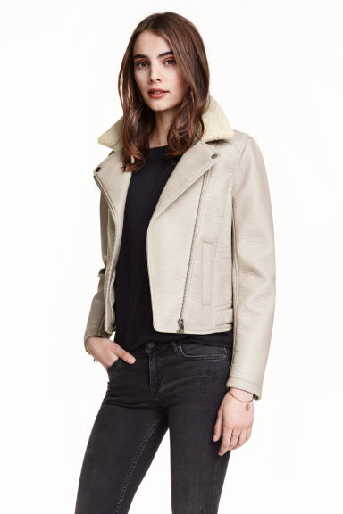 best place beautiful style Clearance sale Biker jacket with pile collar