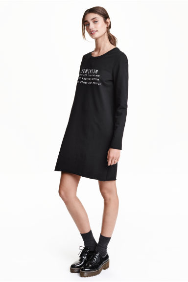 Sweatshirt dress - Black/Feminism -  | H&M GB
