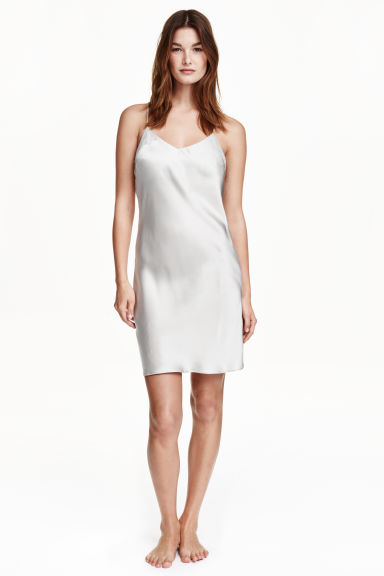 Silk nightslip - Light grey - Ladies | H&M GB
