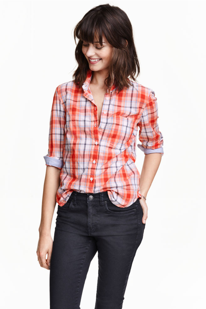 49d8cf14776c2 Camisa entallada de algodón - Naranja Cuadros - MUJER