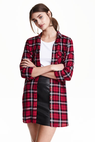 Long shirt - Red/Checked -  | H&M GB