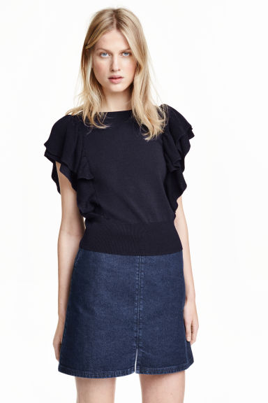 Fine-knit top - Dark blue - Ladies | H&M GB