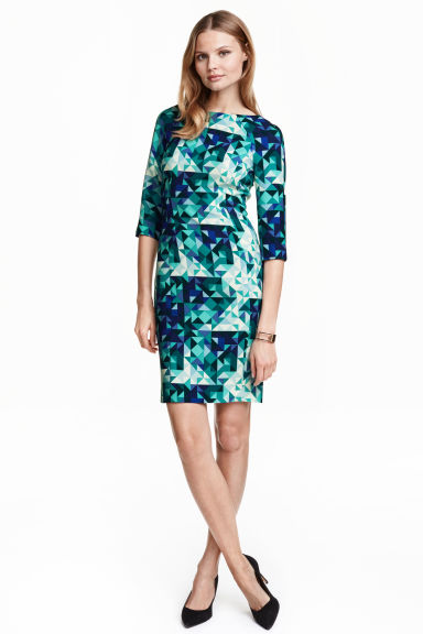 Fitted dress - Turquoise/Patterned - Ladies | H&M GB