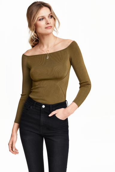 Ribbed off-the-shoulder top - Brown -  | H&M GB