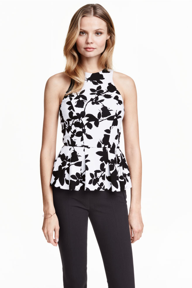 4f9ccf720e6a97 Sleeveless peplum top - White Patterned - Ladies