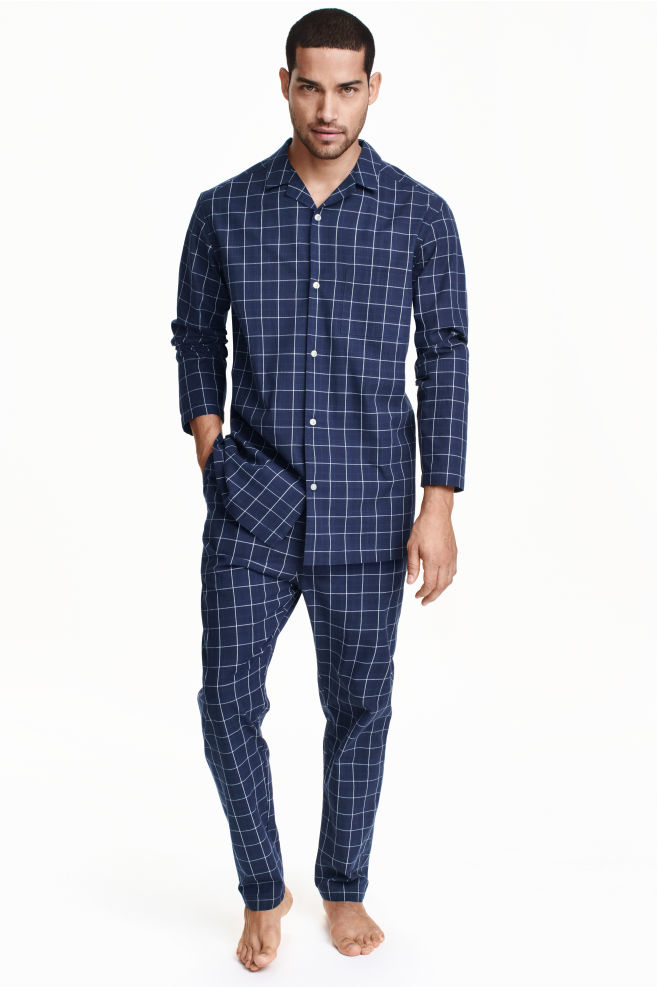 19e85f340f Pijama de cuadros de algodón - Azul oscuro - HOMBRE