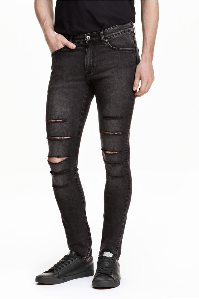 c8c4a590 Super Skinny Low Ripped Jeans - Dark grey - Men | H&M ...