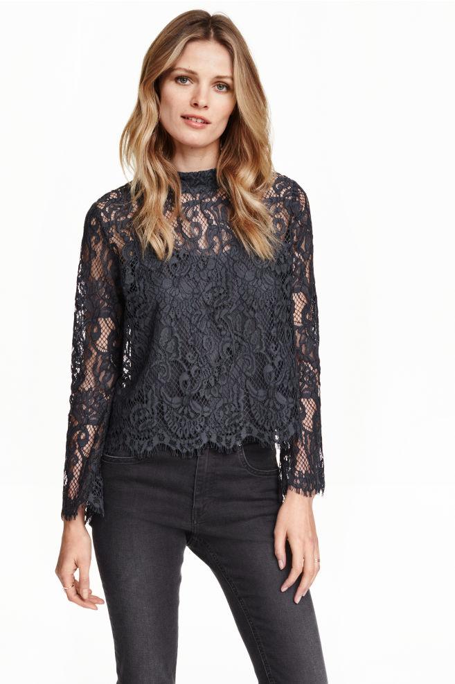 46edc4e40c9 Кружевная блузка - Темно-серый - Женщины