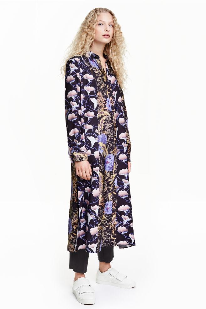 48887b96a Dlhé košeľové šaty - čierna kvetovaná - ŽENY | H&M ...
