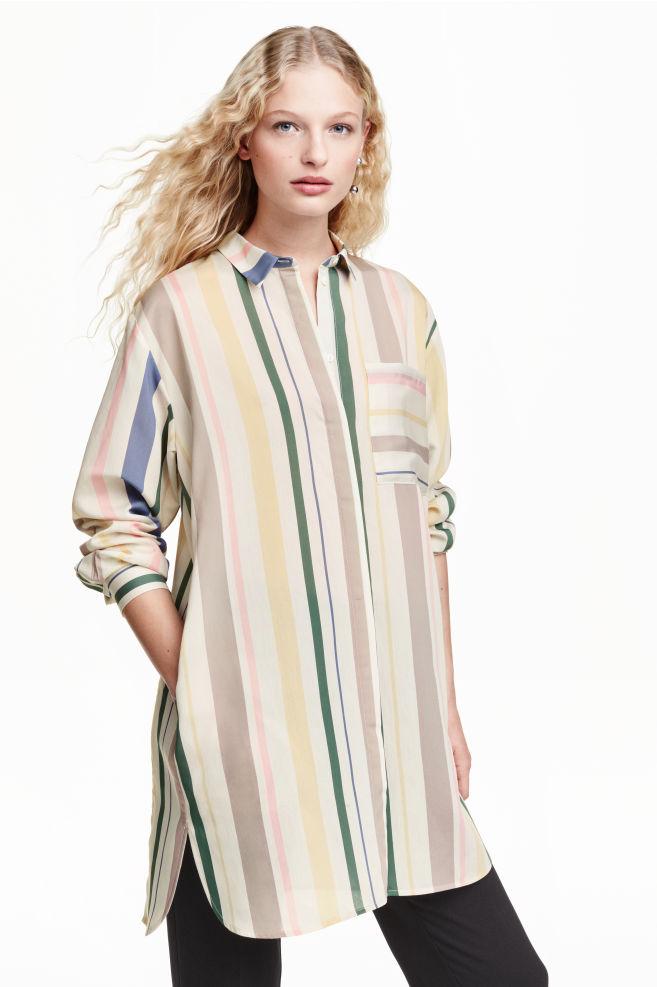 946c25977a60 Dlhá košeľa - prírodná biela pruhovaná - ŽENY