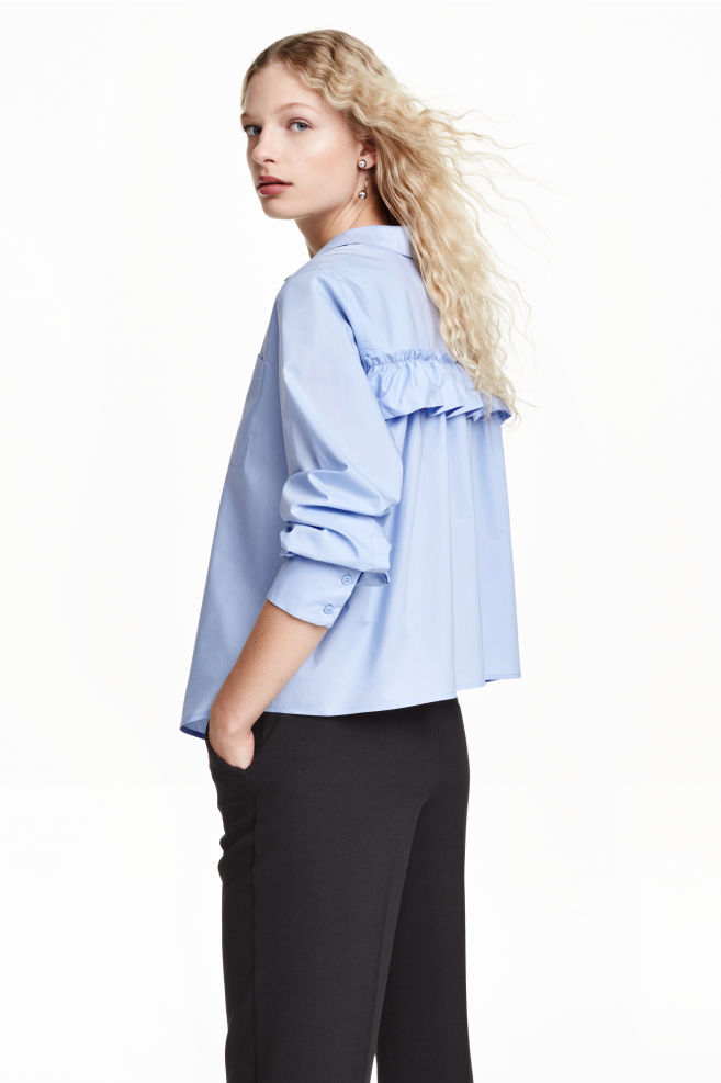 d634f14241 Wide blouse with a frill - Light blue - Ladies | H&M ...