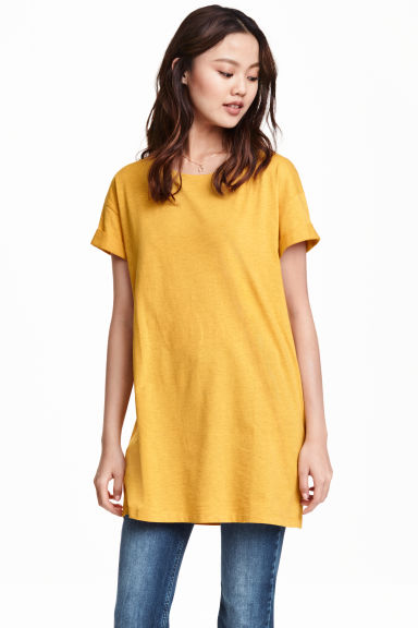 Long T-shirt - Mustard yellow - Ladies | H&M CN