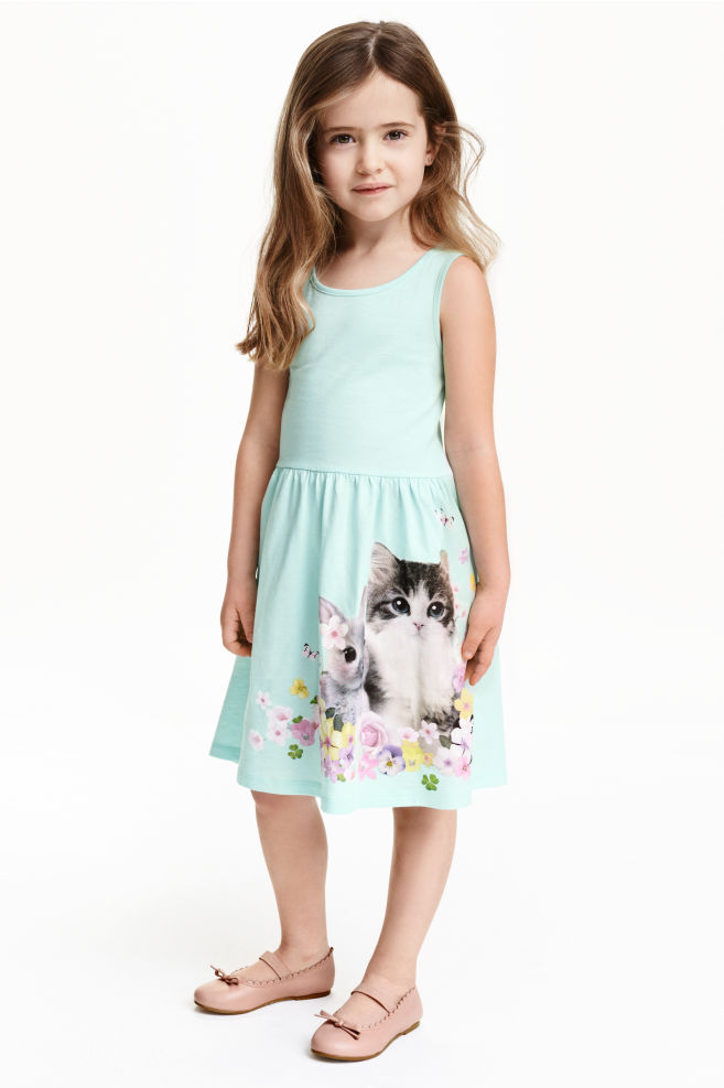 Sleeveless jersey dress - Light turquoise Animal - Kids  e2b8eacb5