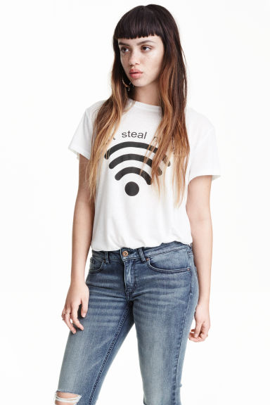 T-shirt with a print motif - White/Wifi - Ladies | H&M GB