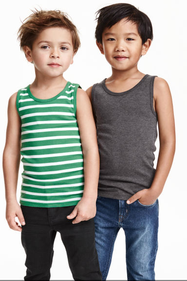 2-pack vest tops - Dark grey - Kids | H&M